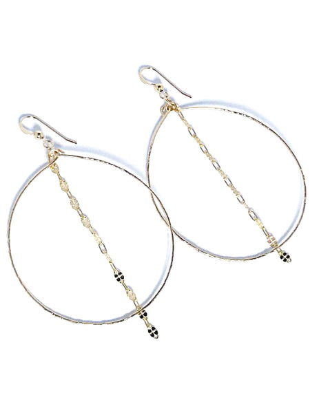 hammered hoops with chain detail shoppe california