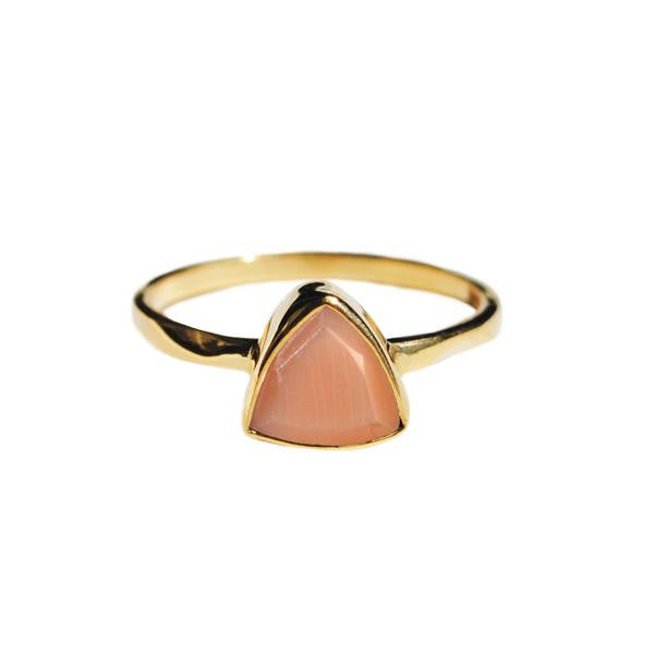 Peach moonstone triangle ring