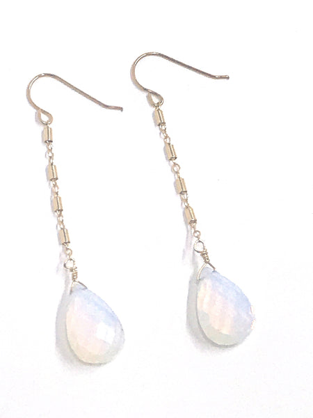 gold fill opal tear drop earring shoppe california