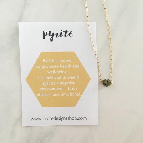 Handmade pyrite healing necklace by Acute Designs with gemstone meanings