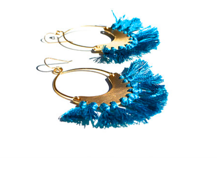 Handmade fringe earrings by Housgoods