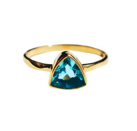 Aqua quartz triangle ring