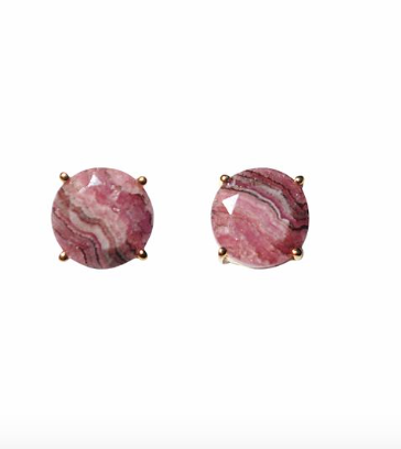 rhodochrosite gemstone stud earrings shoppe california