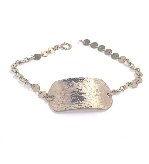 hammered dog tag disc bracelet shoppe california
