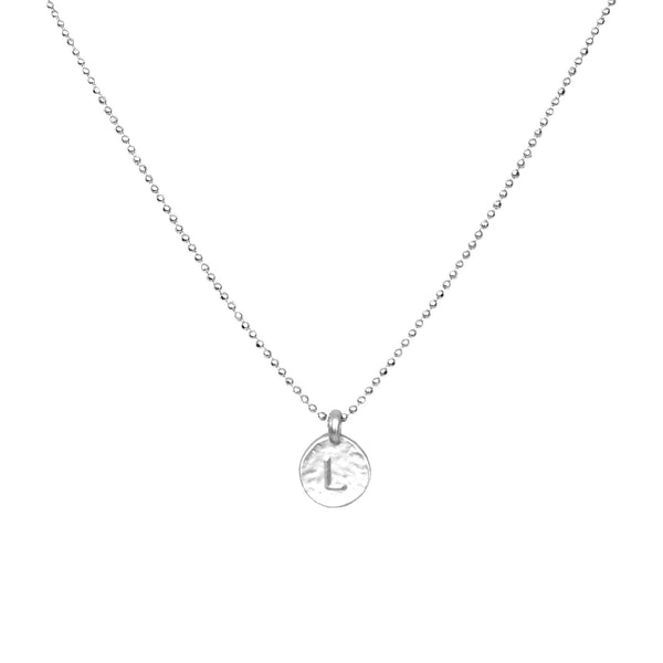 hand stamped L initial necklace by Love Tatum