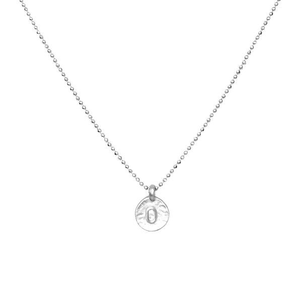hand stamped initial O necklace