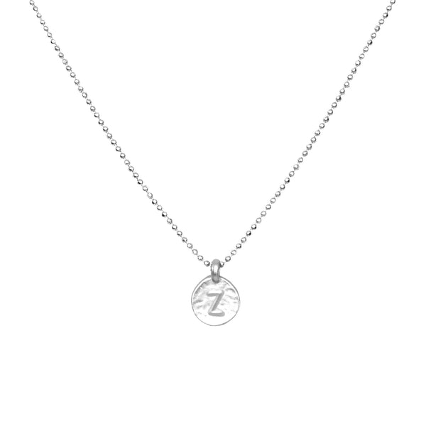 hand stamped Z initial charm necklace