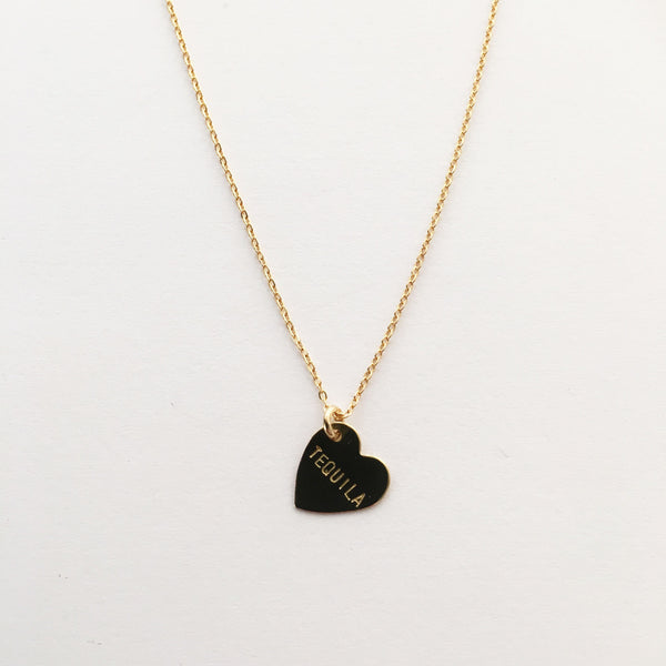 handmade hand stamped tequila heart necklace by Bunnies in LA