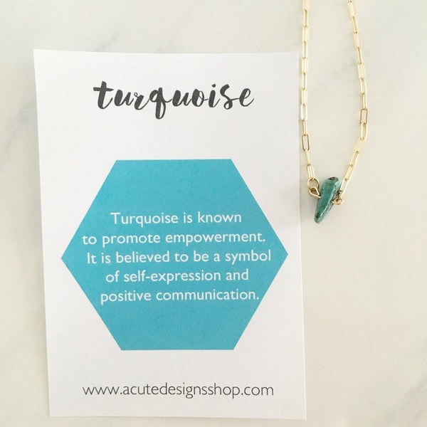 handmade turquoise healing necklace by Acute Designs with gemstone meanings