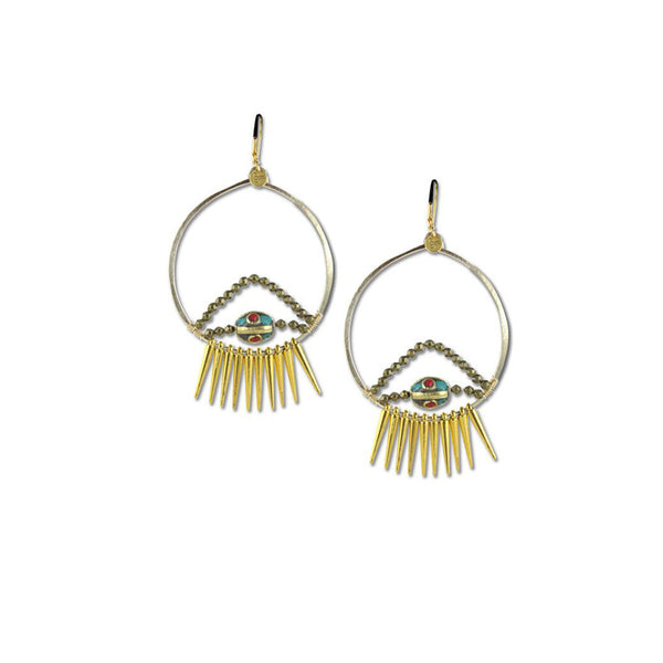 handmade gold fill and spike earrings by Double Happiness Jewelry
