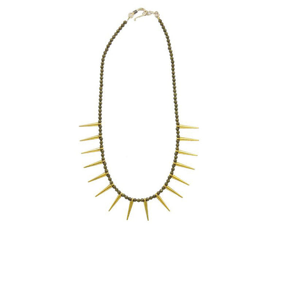 handmade gold fill spike necklace by Double Happiness Jewelry