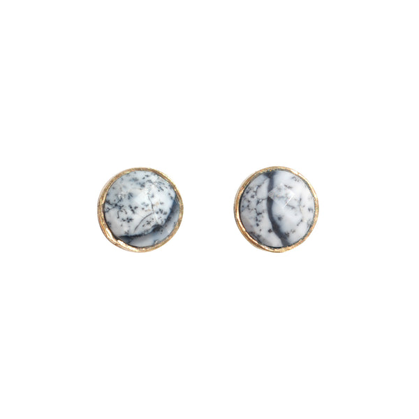 white opal round gold studs by love tatum
