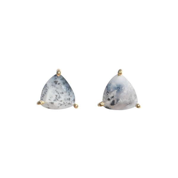white opal triangle prong studs by Love Tatum