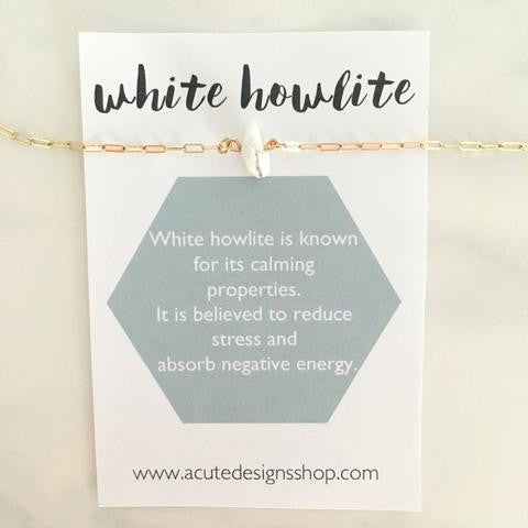 handmade white howlite healing necklace by Acute Designs with gemstone meanings
