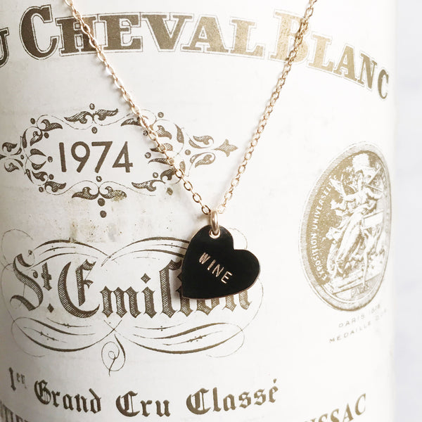 handmade hand stamped wine heart shaped necklace by Bunnies in LA