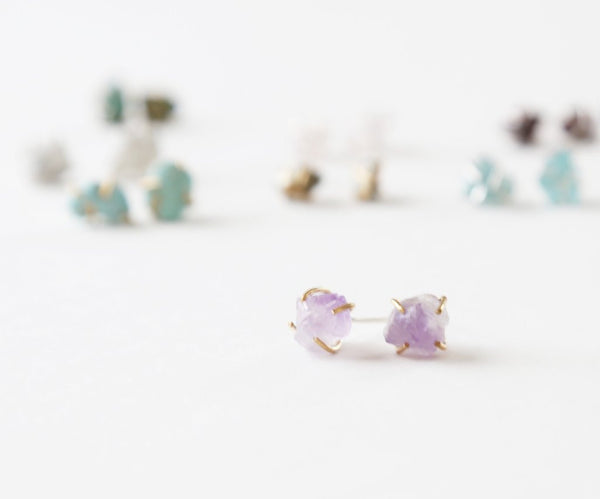 healing gemstone stud earrings by Acute Designs