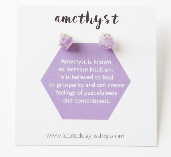 healing gemstone amethyst stud earrings by Acute Designs