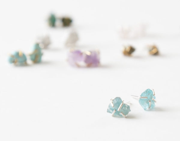 Healing gemstone stud earrings in aquamarine