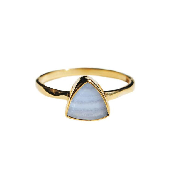 blue lace agate triangle ring by Love Tatum
