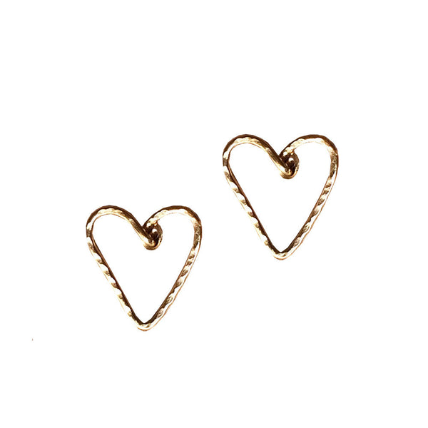 mini heart post earrings shoppe california