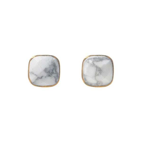 howlite cushion studs by Love Tatum in hypoallergenic gold fill