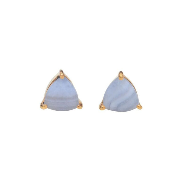 blue lace agate triangle prong stud
