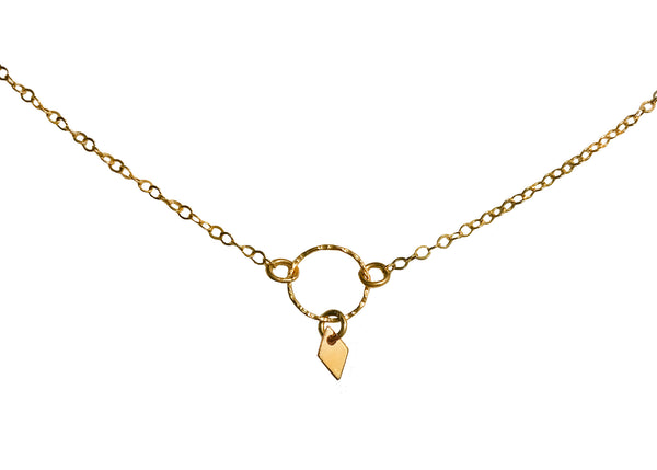 tiny diamond charm necklace by Shoppe California