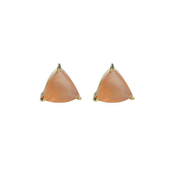 Peach moonstone triangle studs by Love Tatum