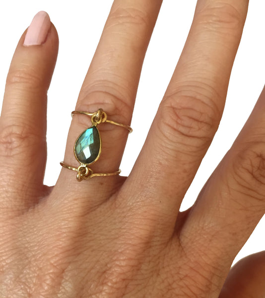 double band gemstone ring shoppe california