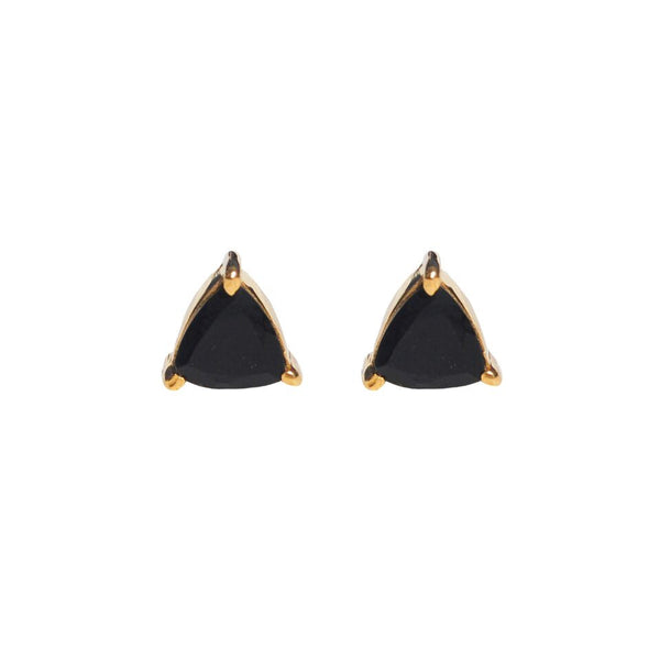 black onyx triangle prong studs by Love Tatum with gemstone meaning