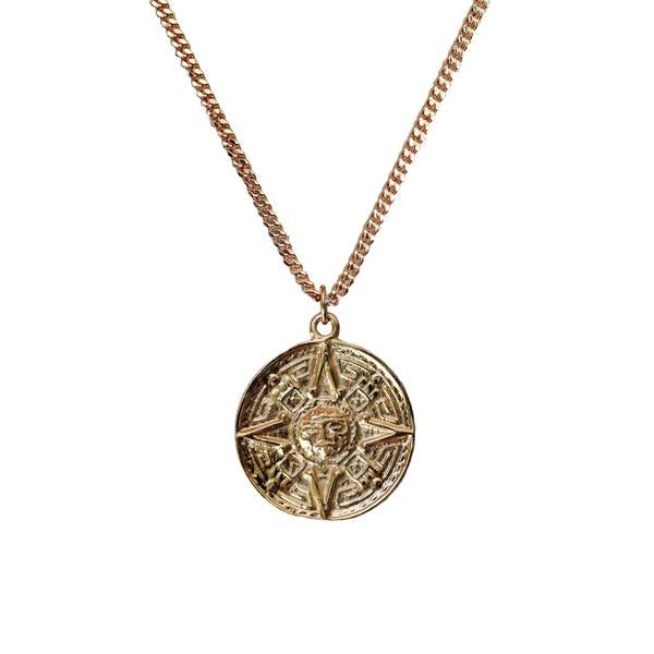 vintage rising sun coin necklace shoppe california