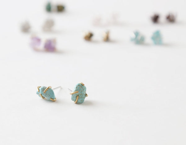 Healing gemstone stud earrings in turquoise