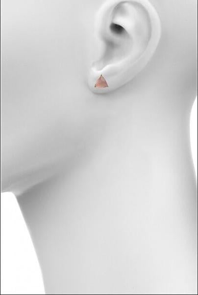 rose quartz triangle prong studs by Love Tatum