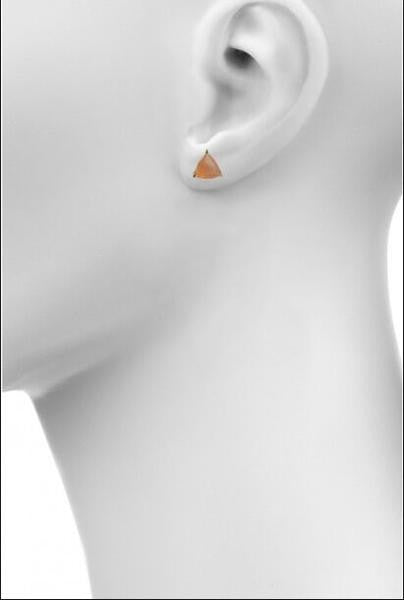 Peach moonstone triangle stud earrings by Love tatum