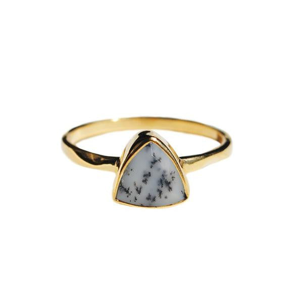 White opal triangle ring by Love Tatum