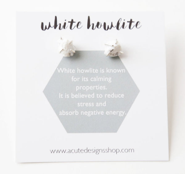 Healing gemstone stud earrings in white howlite