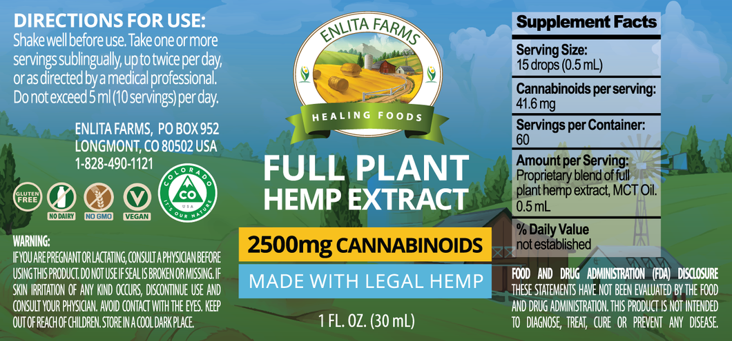 Enlita Farms CBD oil Full-spectrum Hemp Extract Tincture 2500mg - 30 mL