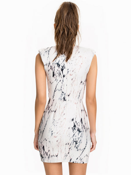 Marble Printed Plunge Bodycon Dress