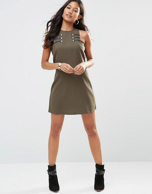 Military Detail shift dress