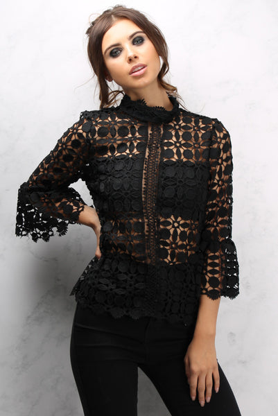 Black Bell Sleeve High Neck Crochet Top