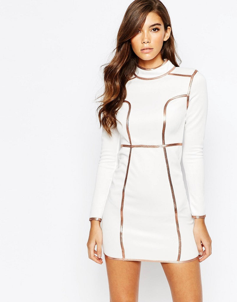 High Neck Mini Dress With Metallic Piping