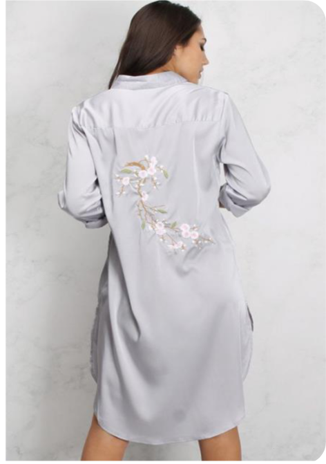 Embroidered Longline Satin Shirt