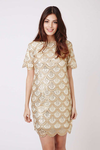 Scallop Sequin T-Shirt Shift Dress