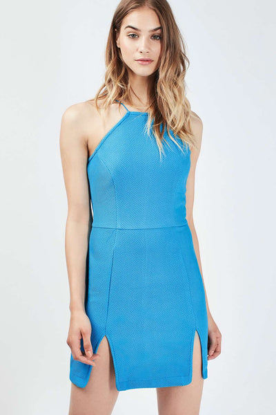Blue Split Front Mini Dress