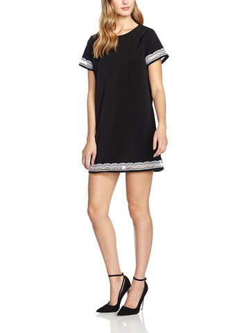 Black Grid Detail Shift Dress