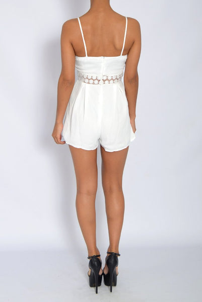 White Crochet Floral Strappy Playsuit