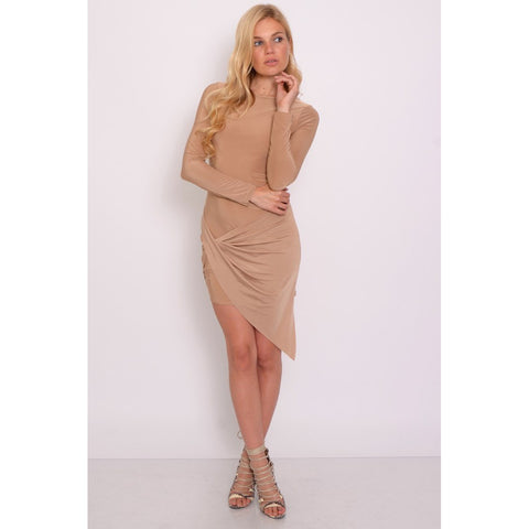 CAMEL LONG SLEEVE WRAP DRESS - Rare London