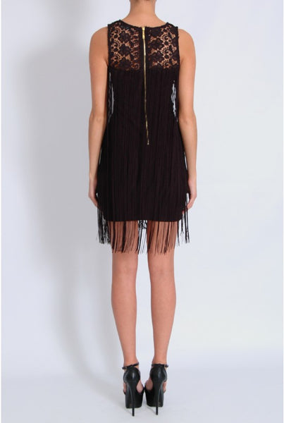 Lace Fringe Sleeveless Dress