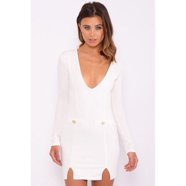 White Long Sleeve Military Plunge Dress - 1001noches