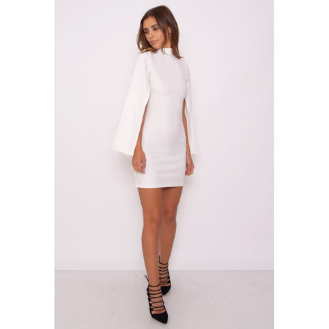 White High Neck Cape Dress - 1001noches